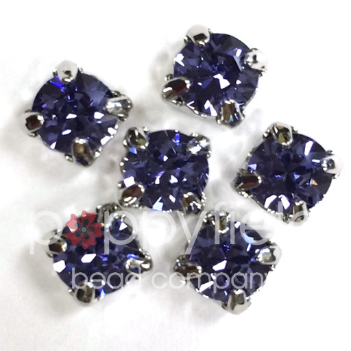 Austrian Swarovski 2-Hole Sliders, 29ss=6.5mm, Tanzanite/Silvertone Plate, 6 pcs