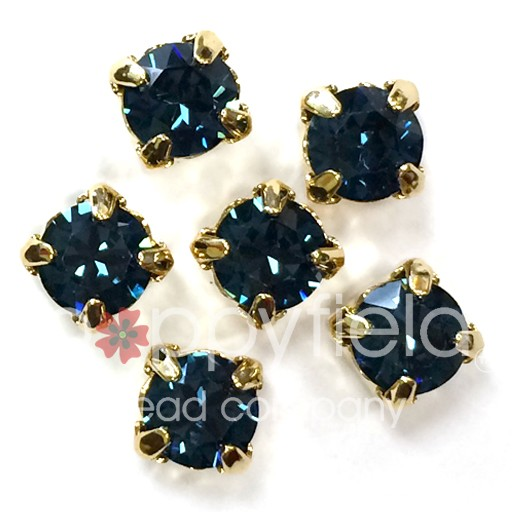 Austrian Swarovski 2-Hole Sliders, 29ss=6.5mm, Montana/Goldtone Plate, 6 pcs