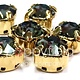 Austrian Swarovski 2-Hole Sliders, 29ss=6.5mm, Black Diamond/Gold Plate, 6pcs