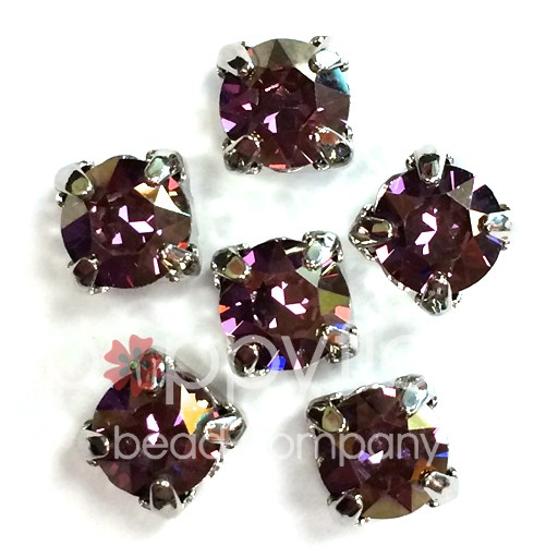 Austrian Swarovski 2-Hole Sliders, 29ss=6.5mm, Lilac Shadow/Silvertone Plate, 6 pcs
