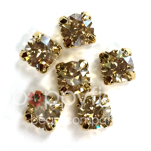 Austrian Swarovski 2-Hole Sliders, 29ss=6.5mm, Golden Shadow/Goldtone Plate, 6 pcs