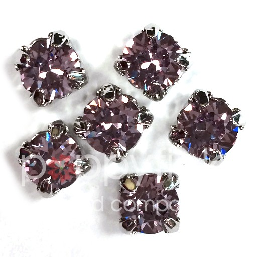Austrian Swarovski 2-Hole Sliders, 29ss=6.5mm, Light Amethyst/Silvertone Plate, 6 pcs