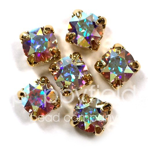 Austrian Swarovski 2-Hole Sliders, 29ss=6.5mm, Crystal AB/Goldtone Plate, 6 pcs