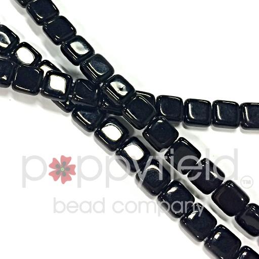 Czech 2 Holed Tile Beads, 6 mm, Jet, 50 pcs