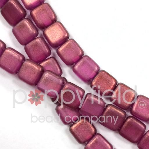 Czech 2 Holed Tile Beads, 6 mm, Halo Madder Rose, 50 pcs