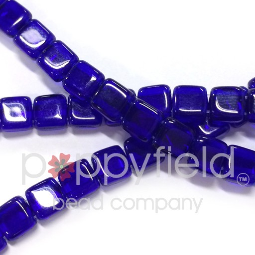Czech 2 Holed Tile Beads, 6 mm, Cobalt Blue, 50 pcs