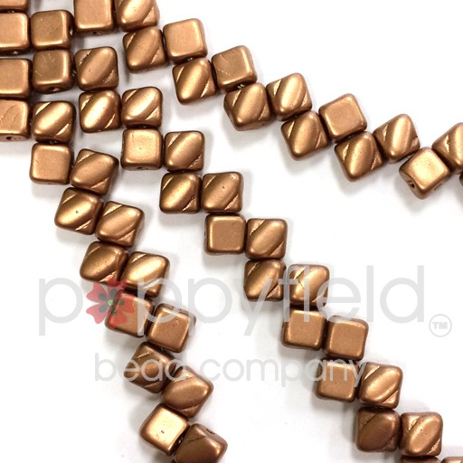 Czech 2 Hole Silky Beads, Crystal Bronze Copper, 40 Pcs