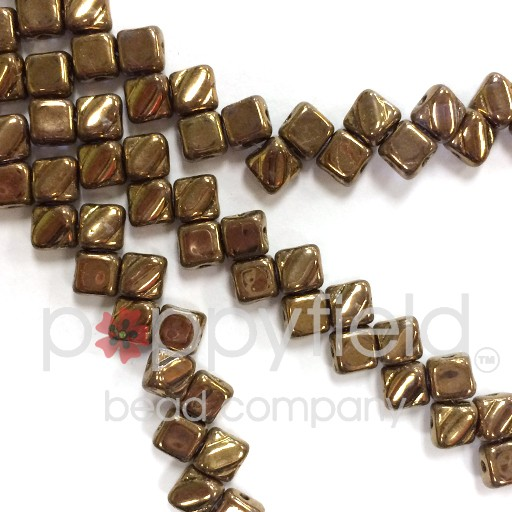 Czech 2 Hole Silky Beads, Crystal Gold Luster, 40 Pcs