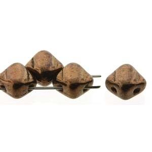 Czech 2 Hole Silky Beads, Jet Bronze, 40 Pcs
