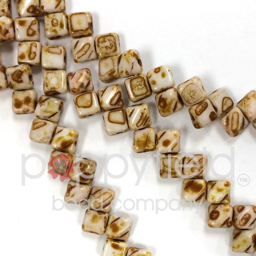 Czech 2 Hole Silky Beads, White Opal Picasso, 40 Pcs