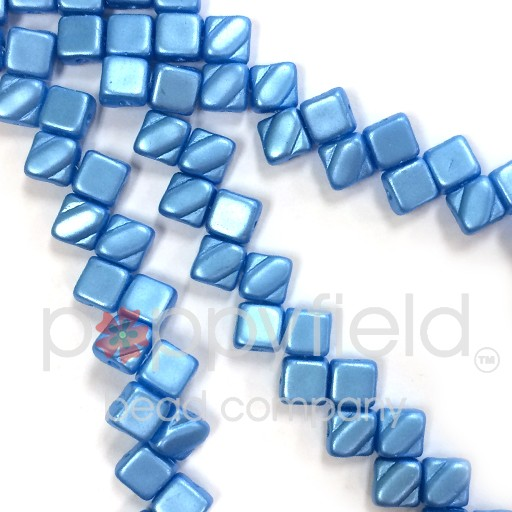 Czech 2 Hole Silky Beads, Pastel Turquoise, 40 Pcs