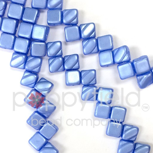 Czech 2 Hole Silky Beads, Pastel Light Sapphire, 40 Pcs