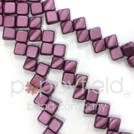 Czech 2 Hole Silky Beads, Pastel Burgundy, 40 Pcs