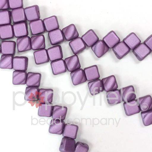 Czech 2 Hole Silky Beads, Pastel Lilac, 40 Pcs