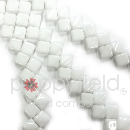 Czech 2 Hole Silky Beads, White Opal, 40 Pcs