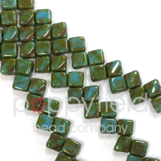Czech 2 Hole Silky Beads, Turquoise Picasso, 40 Pcs