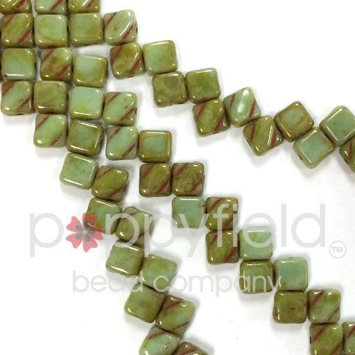 Czech 2 Hole Silky Beads, Light Green Turquoise Picasso, 40 Pcs