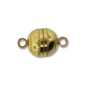 Chinese Magnetic Clasp Ball, Bright Gold Finish, 2 pcs