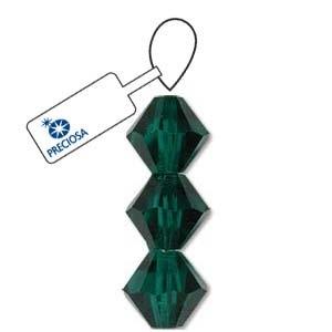 Czech Preciosa Bicone Strand, 6 mm, Emerald, 21 pcs