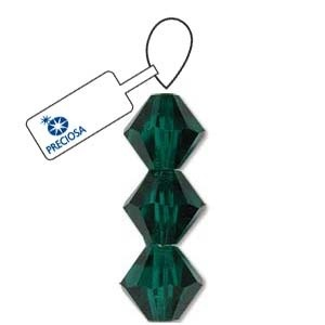 Czech Preciosa Bicone Strand, 4 mm, Emerald, 31 pcs