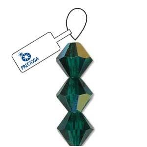 Czech Preciosa Bicone Strand, 6 mm, Emerald AB, 31 pcs