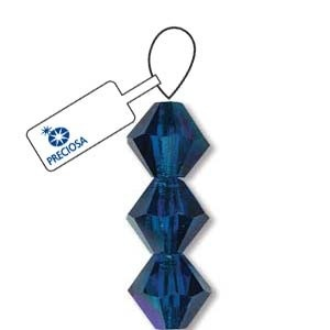 Czech Preciosa Bicone Strand, 6 mm, Capri Blue AB, 21 pcs