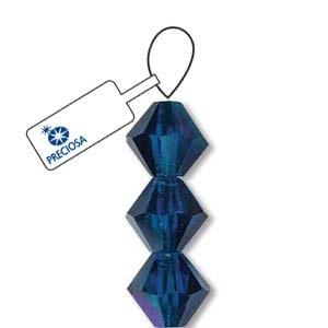Czech Preciosa Bicone Strand, 3 mm, Capri Blue AB, 42 pcs