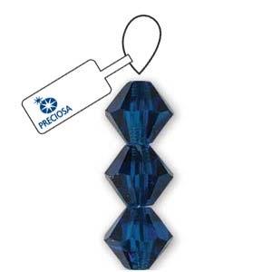 Czech Preciosa Bicone Strand, 4 mm, Capri Blue, 31 pcs