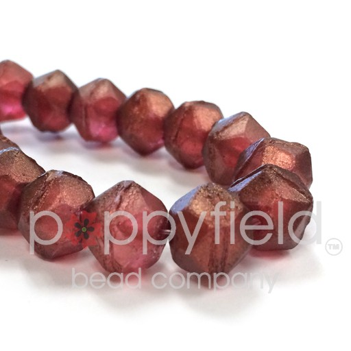 Czech Czech English Cut Beads, 10 mm, Burgundy with Gold Luster, 15 pcs