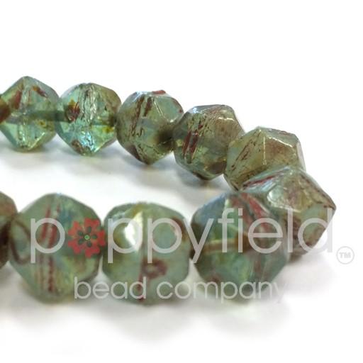 Czech Czech English Cut Beads, 10 mm, Aqua Opalite, 15 pcs