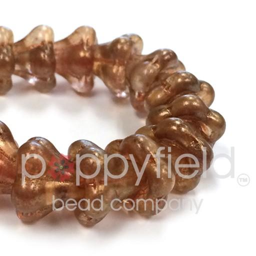 Czech Flower Bead, 13x11 mm, Toasted Coconut, 15 pcs