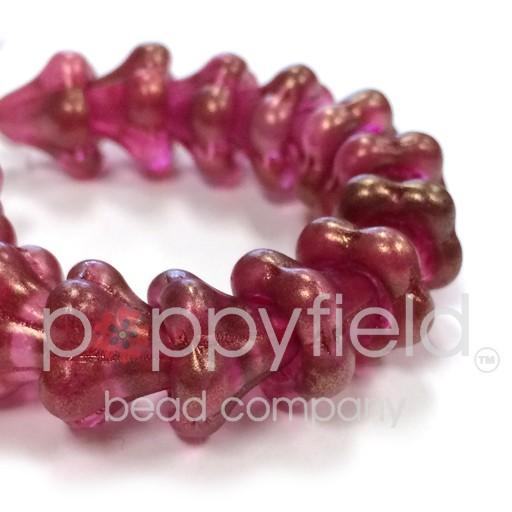Czech Flower Bead, 13x11 mm, Fuchsia, 15 pcs