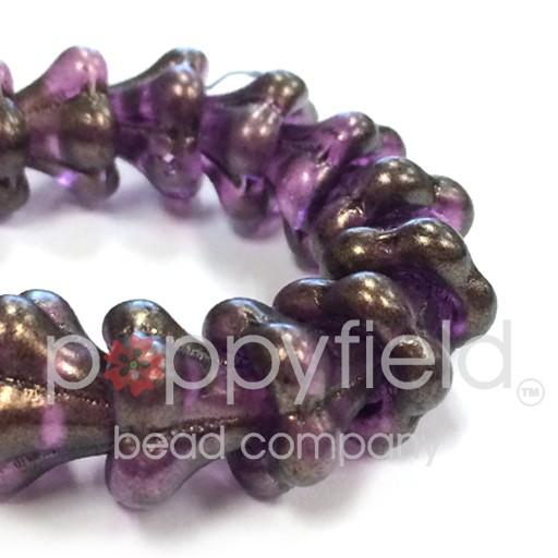 Czech Flower Bead, 13x11 mm, Amethyst, 15 pcs