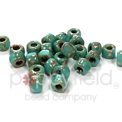 Czech Matubo, 6/0 TRICUT, Turquoise Green Picasso, 10g