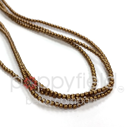 Czech Glass Pearls, 2 mm, Antique Gold, 150 pcs