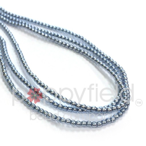 Czech Glass Pearls, 2 mm, Tanzanite (see color note below), 150 pcs