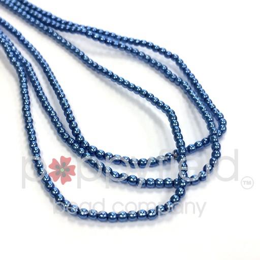 Czech Glass Pearls, 2 mm, Persian Blue, 150 pcs