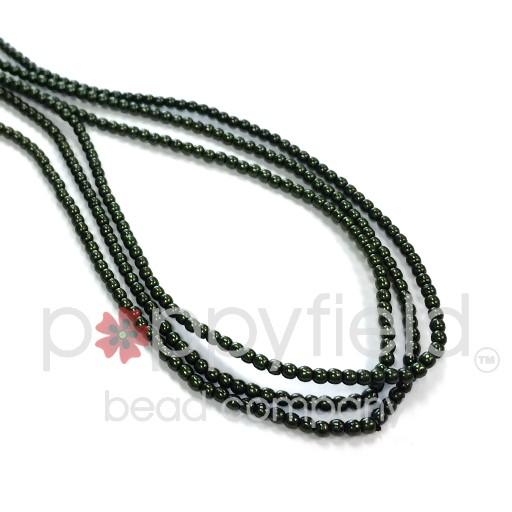 Czech Glass Pearls, 2 mm, Hunter Green, 150 pcs