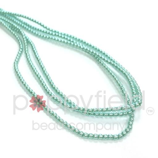 Czech Glass Pearls, 2 mm, Aqua, 150 pcs