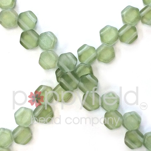 Czech 2-hole Honeycomb, 6 mm, Matte Lt Green Luster, 30 pcs/strand
