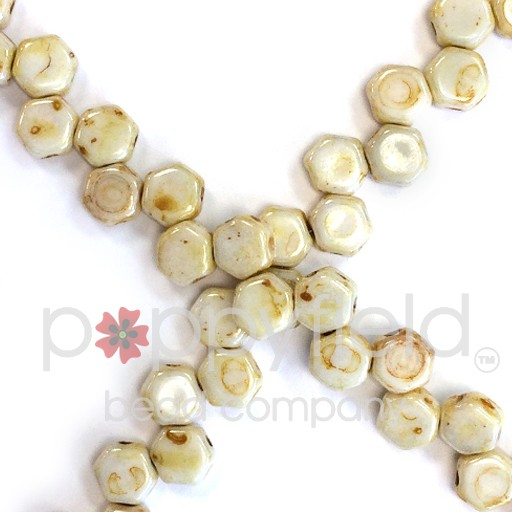 Czech 2-hole Honeycomb, 6 mm, Honey Drizzle, 30 pcs/strand