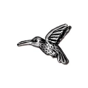 Hummingbird Bead, Antique Silver