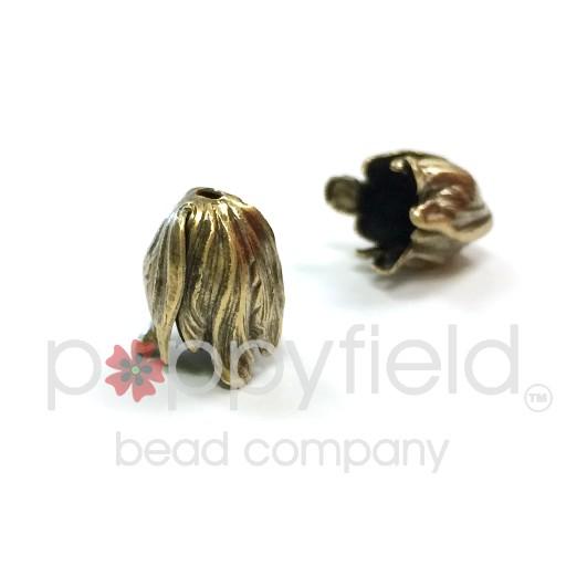 Flower Bead Cap, 11x9 mm, Antique Brass, 2 pcs