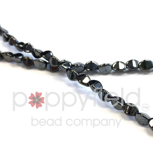 Czech Pinch Beads, 5 mm, Jet Hematite, 50 pcs