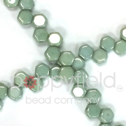 Czech 2-hole Honeycomb, 6 mm, Chalk Green Luster, 30 pcs/strand