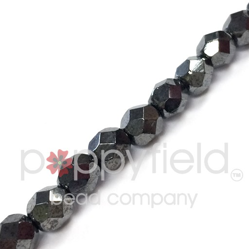 Czech Czech Fire Polish, 6 mm, Hematite, 25 pcs