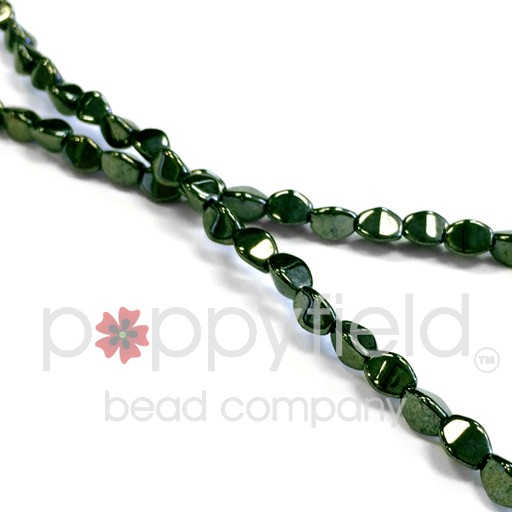 Czech PINCH BEADS, 5 mm, Jet Red Luster (Color Note: Metallic Green on Jet), 50 pcs