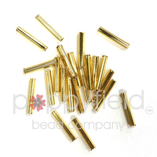 Japanese Bugle Beads, 12mm, S/L Gold