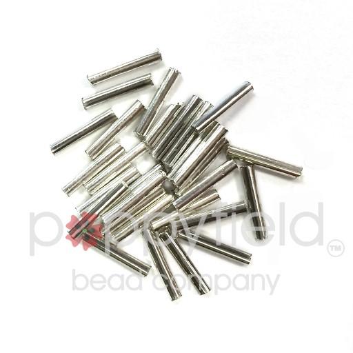 Japanese Bugle Beads, 12mm, Silver