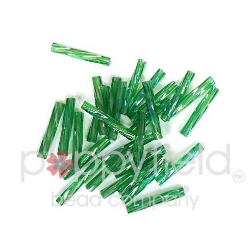 Japanese Twisted Japanese Bugle Beads, 12mm, Green with AB Finish